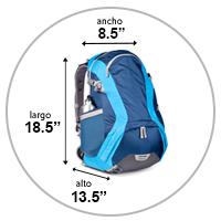 La foto muestra un bolso personal de 18.5 x 8.5 x 13.5 pulgadas.