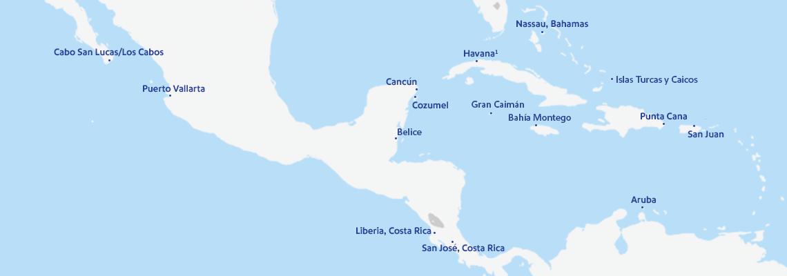 Un mapa con los 14 destinos internacionales a los que vuela Southwest Airlines. Entre ellos se incluyen:Aruba, Belice, Cabo San Lucas/Los Cabos, Cancún, Cozumel, Gran Caimán, La Habana, Liberia, Montego Bay, Nassau, Puerto Vallarta, Punta Cana, San José, Costa Ricae Islas Turcas y Caicos.