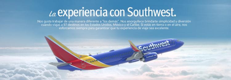"""La experiencia con Southwest. Nos gusta trabajar de una manera diferente a """"los demás"""". Nos enorgullece brindarte simplicidad y diversión cuando viajas a 97 destinos en United States, Mexico y el Caribe. Si estás en tierra o en el aire, nos esforzamos siempre para garantizar que tu experiencia de viaje sea excelente."""