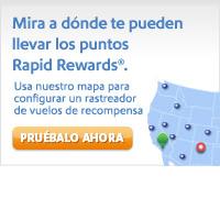 Mira tus posibles destinos con los puntos Rapid Rewards®. Usa nuestro mapa para configurar un rastreador de vuelos de recompensa. Pruébalo ahora.