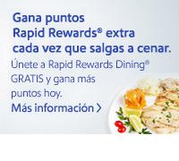 Gana puntos Rapid Rewards® extra cada vez que salgas a cenar. Únete a Rapid Rewards Dining® GRATIS y gana más puntos hoy. Más información.