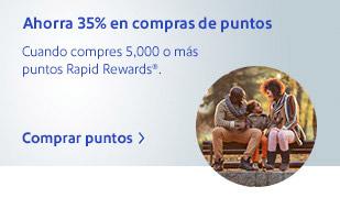Ahorra 35% en compras de puntos. Cuando compres 5,000 o más puntos Rapid Rewards&reg. Comprar puntos.