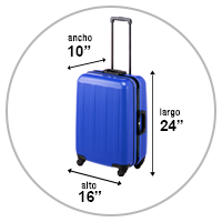 La foto muestra un equipaje de mano de 10 x 16 x 24 pulgadas
